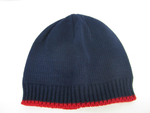 Navy and Red Contrast Color Knit Cap