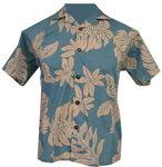 Light Blue/Ivory Hawaiian Fern Camp Shirt