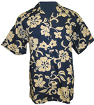 Midnight/Khaki Hawaiian Hibiscus Camp Shirt