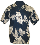 Navy/Ivory Hawaiian Fern Camp Shirt