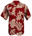 Red/Ivory Hawaiian Fern Camp Shirt