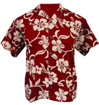Red/White Hawaiian Hibiscus Camp Shirt