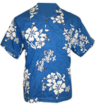 Royal/White Hawaiian Hibiscus Camp Shirt