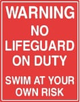 Warning Swim At Your Own Risk Sign