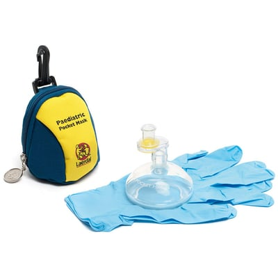 Laerdal Pediatric Pocket Mask, Blue/Yellow Soft Pack