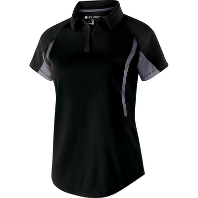 Clearance Ladies' Avenger Polo Short Sleeve Black/Grey