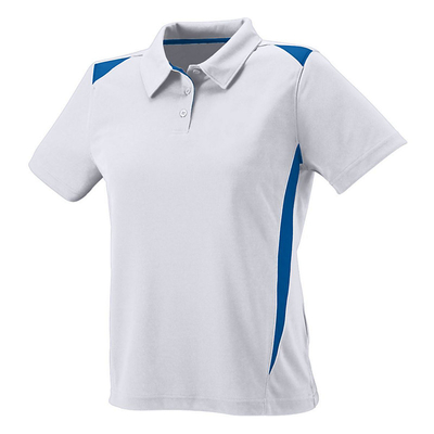 Clearance Ladies' Moisture Wicking Premier Polo White/Royal