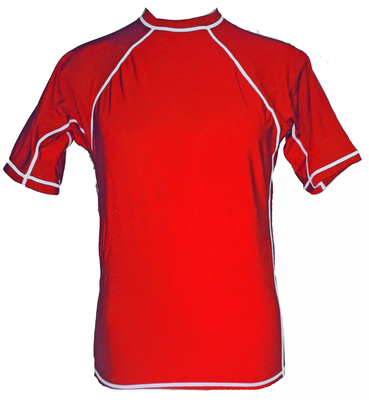 Red and white Short Sleeve Lycra Rash Guard