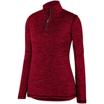 Clearance Ladies Intensity Heather 1/4 Zip Pullover Red