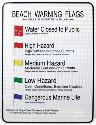 "Beach Warning Flag Sign 30"" x 36"""