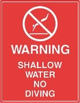 Warning Shallow Water Sign