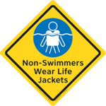 Non-Swimmers Wear Life Jackets Large