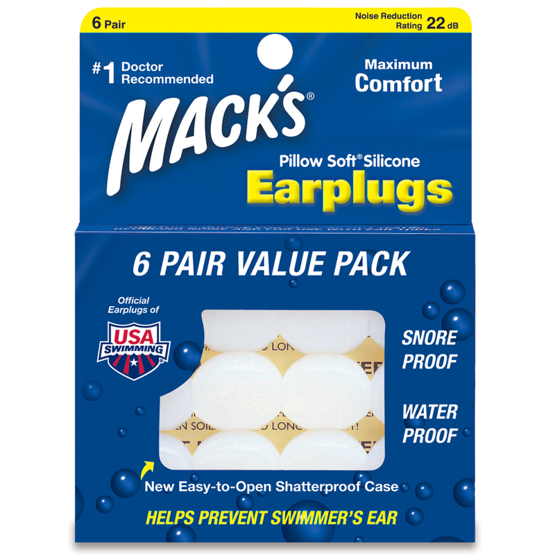 Mack S 174 Pillow Soft Moldable Silicone Ear Plugs 6 Pair Box
