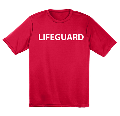 Red Lifeguard Short Sleeve Tech Shirt